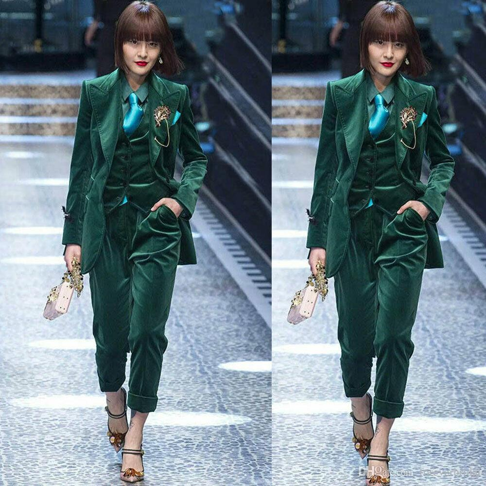 Dark Green Velvet Mother Of The Bride Pant Suits Women Business Work Uniform Formal Outfit For Weddings Tuxedos Blazer (Jacket+Vest+Pants)