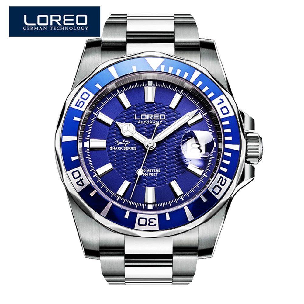 LOREO Marca hombres relojes relojes automáticos de los hombres azules Rvs 200 M reloj impermeable de negocios Deportes mecánicos
