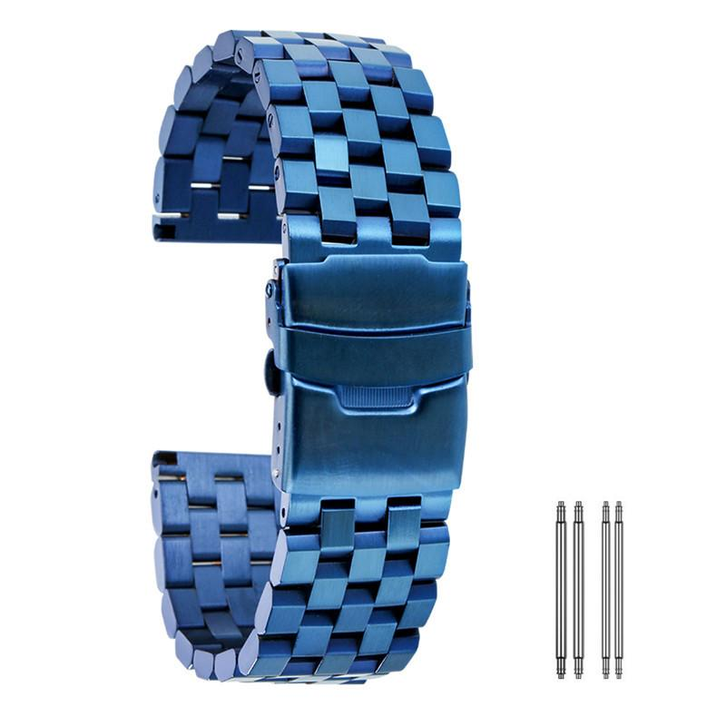 Роскошные высокого качества синий цвет 20мм 22мм 24мм Часы Аксессуар Твердая из нержавеющей стали наручные ремешок Замена браслет Straight Концы