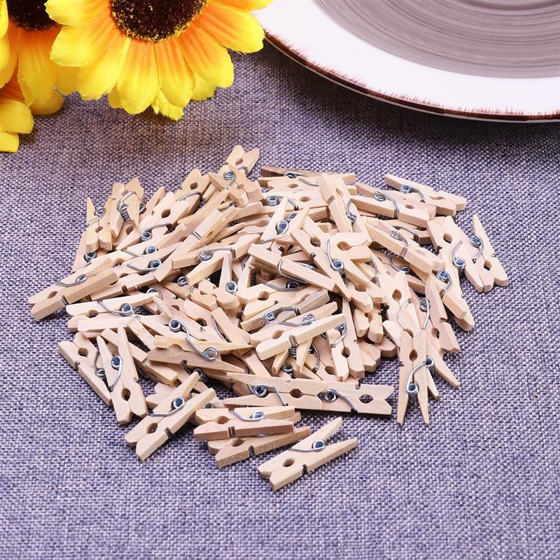 ome & Garden 100pcs 2.5CM Hot Sale Mini Natural Wooden Clothes Photo Paper Peg Pin Clothespin Craft Clips School Office Stationery Wood C...