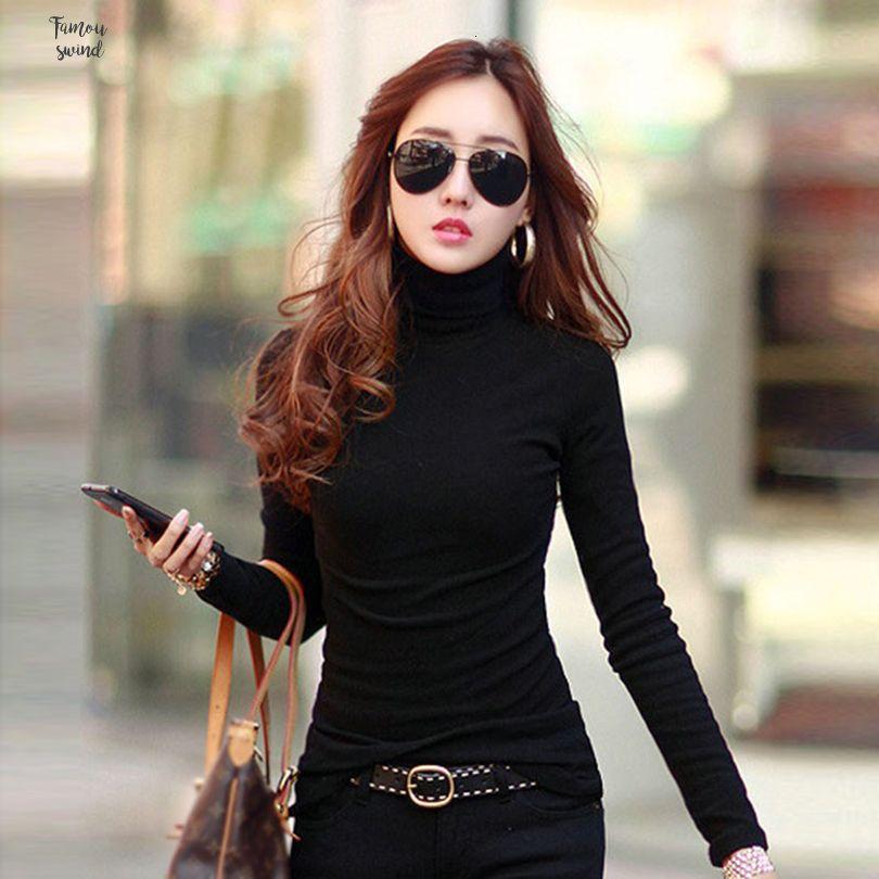 셔츠 여성 의류 여성 단색 패션 T 긴 소매 슬림 터틀 넥 셔츠 여성 드롭 배송 탑