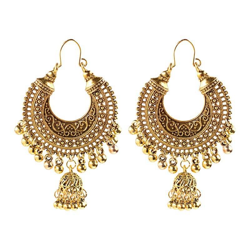 خمر الأقراط العرقية الهندية للنساء بوهو مجوهرات السيدات الرجعية جولة جرس الشرابة شرابة شرابة jhumka أقراط