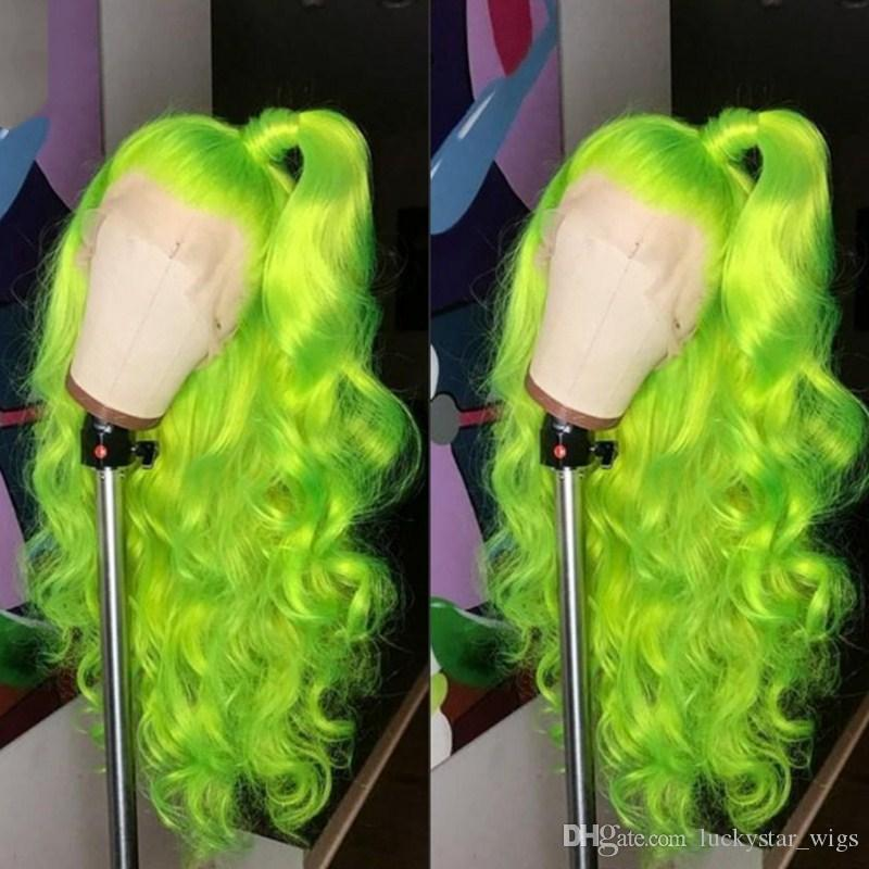 Natural Hairline Full Wigs Green Cosplay Wigs Long Body Wave Hair Free Part Heat Resistant Glueless Synthetic Lace Front Wigs for Women