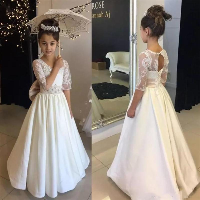 2020 New Flower Girl Dresses For Weddings A Line Sheer Crew Neck Appliques Girls Pageant Gowns Half Sleeves Formal Wear