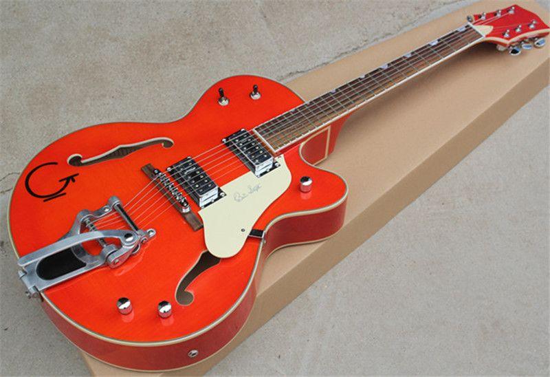 G5422T 세미 할로우 더블 F 구멍, 대형 로커 빅 바이, 두꺼운 바디 일렉트릭 기타, 크롬 오렌지 바디, 특수 인레이.