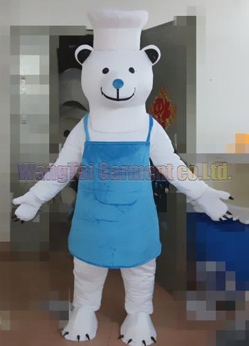 New Eisbär Maskottchen Kostüm Erstklassig deluxe Zeichentrickfigur Kostüme Tier Chef Maskottchenklage Kostümparty Karneval freies Verschiffen