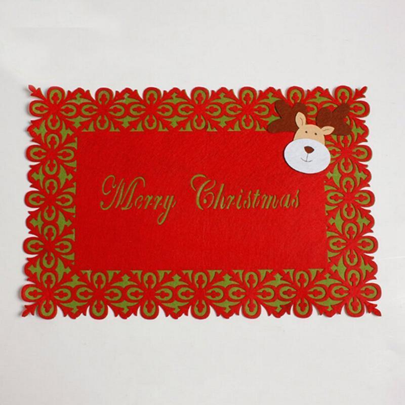 Noel tema Noel Baba Çift katmanlı bulaşığı Noel Masa Placemat hediye ped malzemeleri hasırlar IC976361
