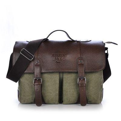 Male Vintage Canvas Briefcase Leather Handbag Tote England Style Men Messenger Bags Shoulder Laptop Bag Military Leisure bag #214895