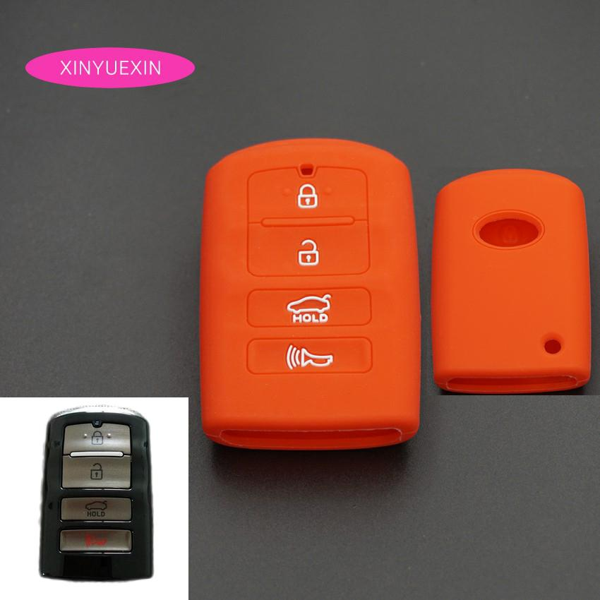 Xinyuexin Silicone Rubber Key Cover FOB Case for KIA K9 Cadenza K7 Smart Remote Key Jacket Case Car-styling Cover 4 Buttons