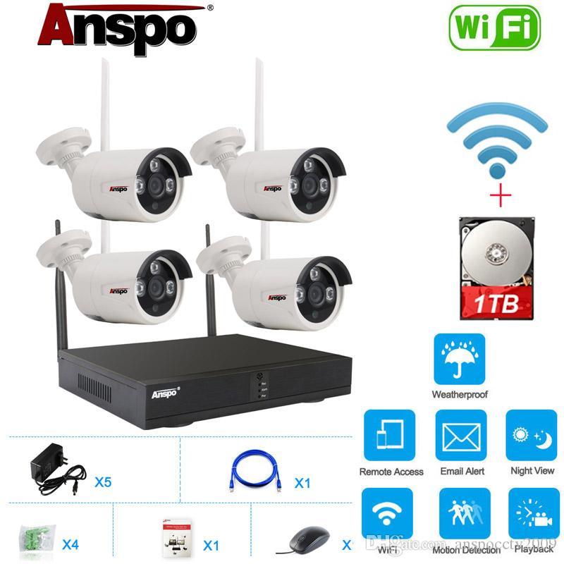 نظام كاميرا 4CH واي فاي لاسلكي الأمن مع 1TB القرص الصلب HDD المثبتة 960P للرؤية الليلية CCTV الرئيسية مراقبة IR-قطع للماء