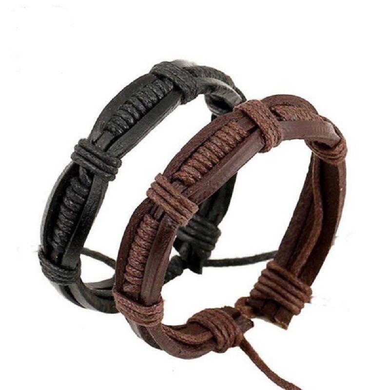 New Unisex Wrist Wrap Leather Bracelets for Women Men Hemp Rope Weave Surfer Tribal Cowhide Bracelets Simple Jewelry Black Brown