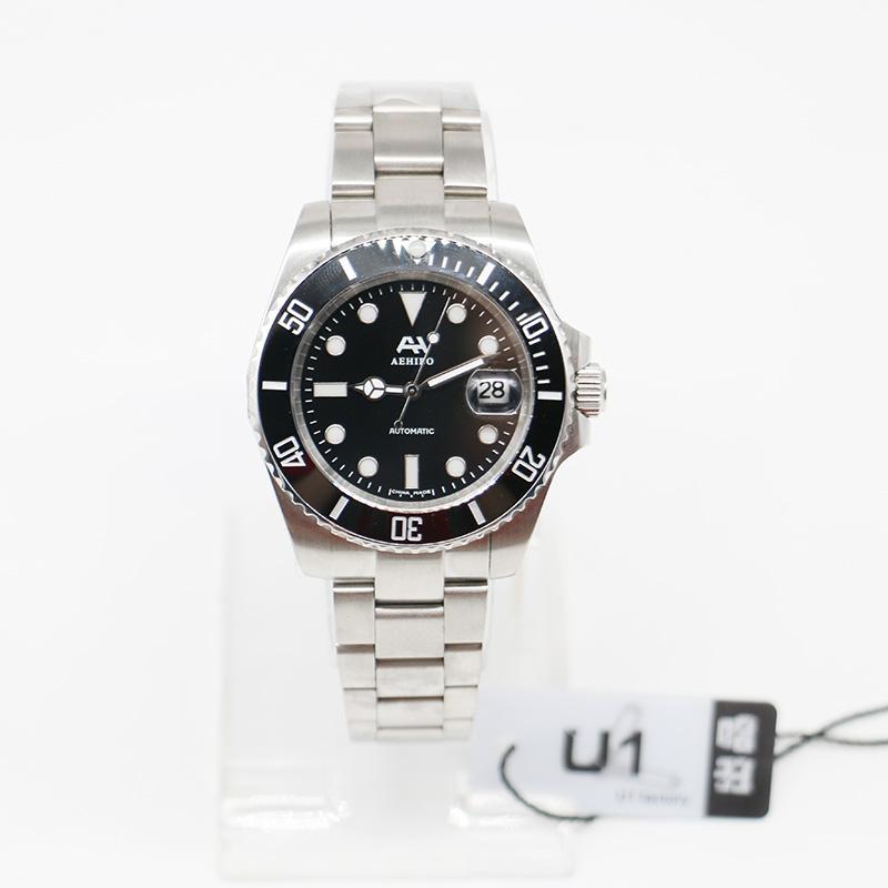 U1 fábrica Marca AEHIBO Sapphire vidro cerâmico moldura 116610LN 116610 Automatic Mens Movimento relógios em aço ST9 Glide Fecho de pulso Homem