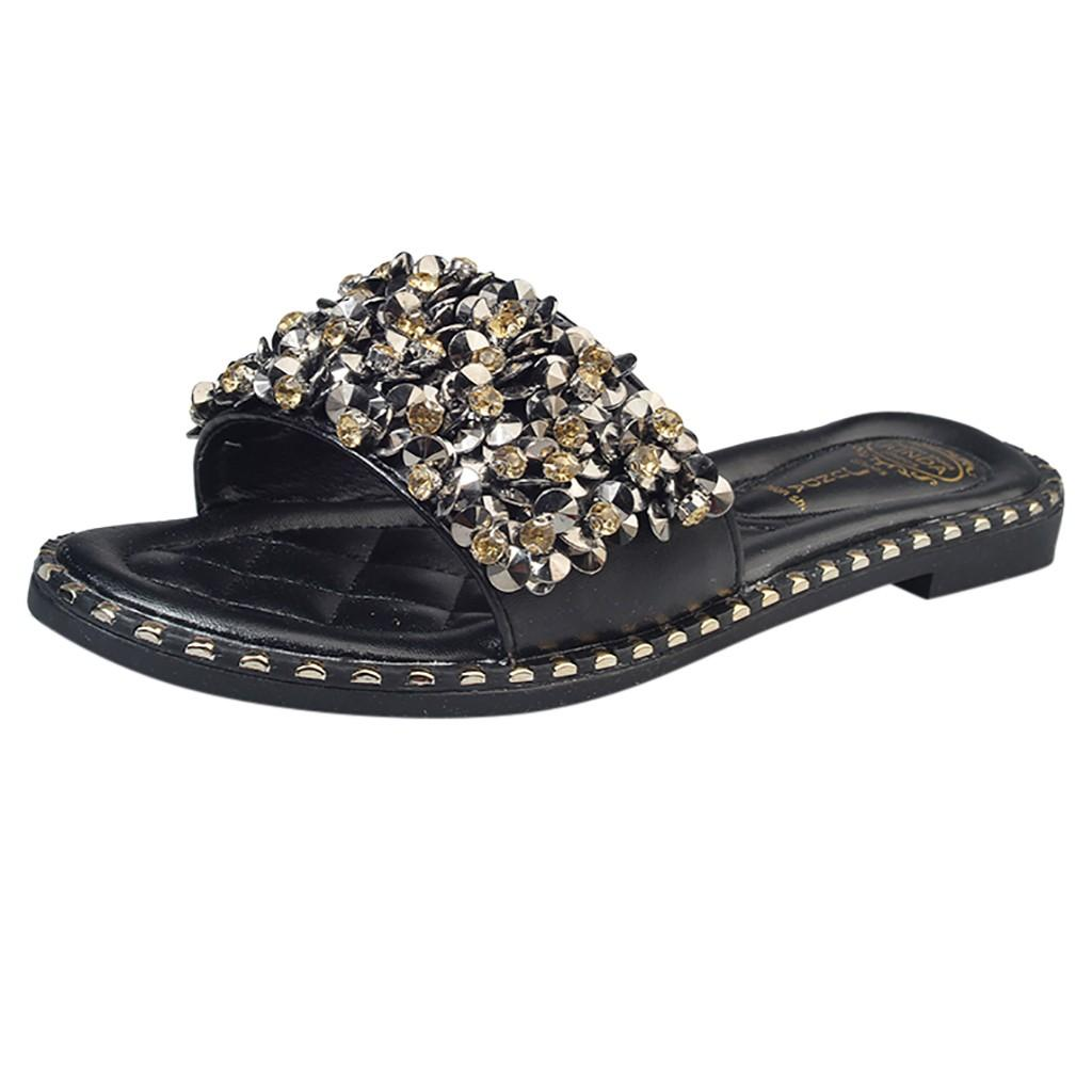 YOUYEDIAN Women's Shiny Rhinestone Slippers Beach Shoes Flat Non-Slip ladies Slippers plus size 2019 #w40