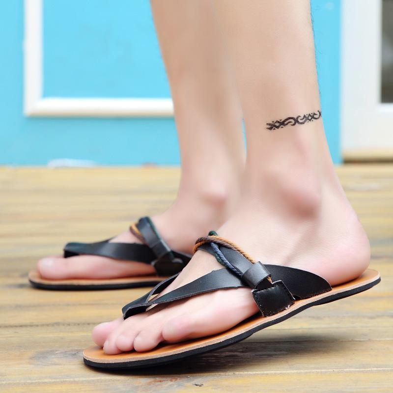 Uomini Cowskin pantofola della medaglia pantofole euro estate flop per i ragazzi antiskid diapositive di viaggio casuale sandalo c4562