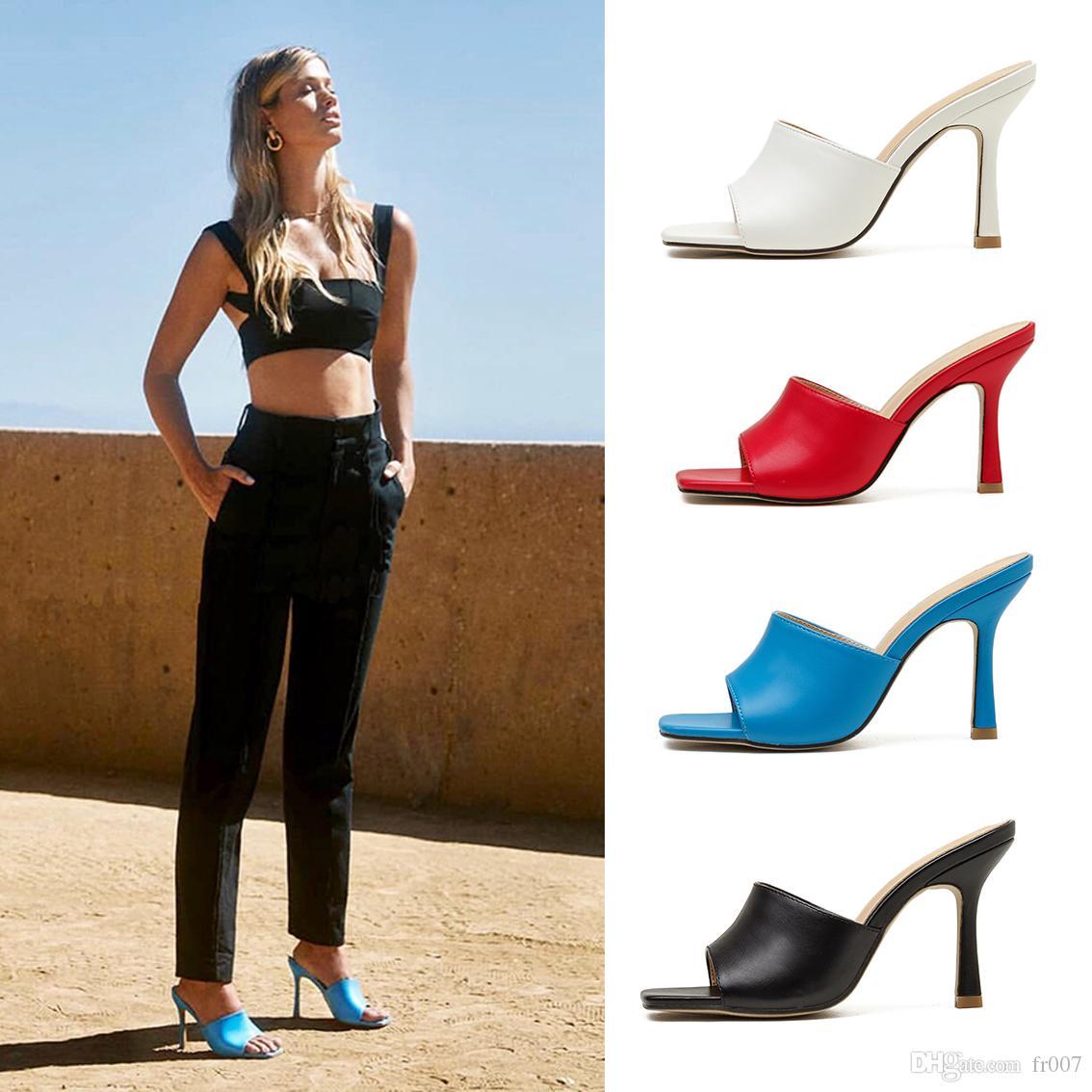 Scarpe tacco alto donne Runway punta aguzza tacco basso scarpe da donna Gladiaor sandali della signora Brand Design Mesh Scarpe 9CM