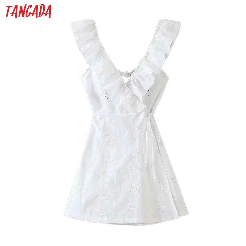 all'ingrosso delle donne ricamo floreale Backless cotone sleevelessfemales cinghia delle increspature mini abiti vestidos QW10