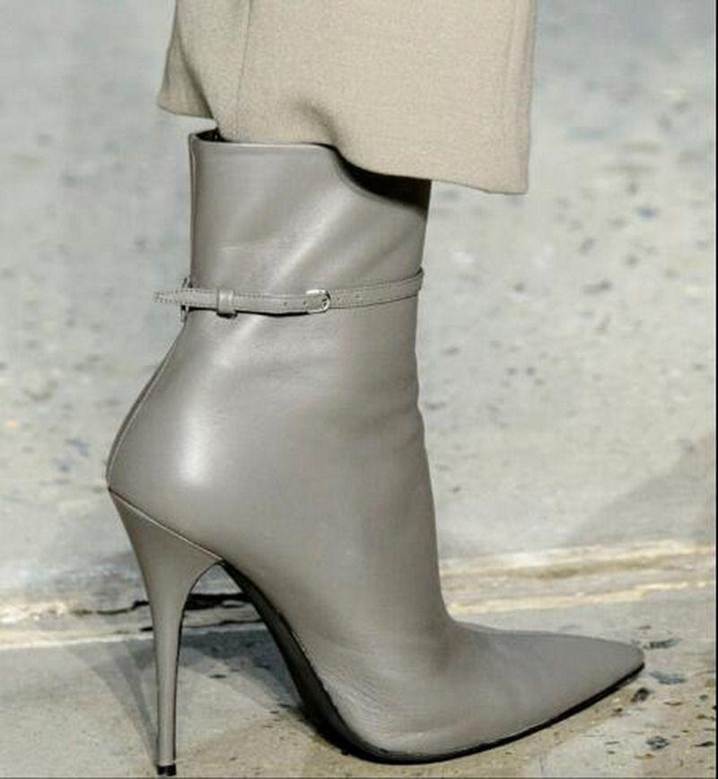Sonbahar ve Kış Yeni Moda Yüksek Kalite Kadınlar Üst Cowskin Ince topuklu Sivri Burun Martin Çizmeler Kemer ile Moda Ayak Bileği Çizmeler Kızlar Ayakkabı