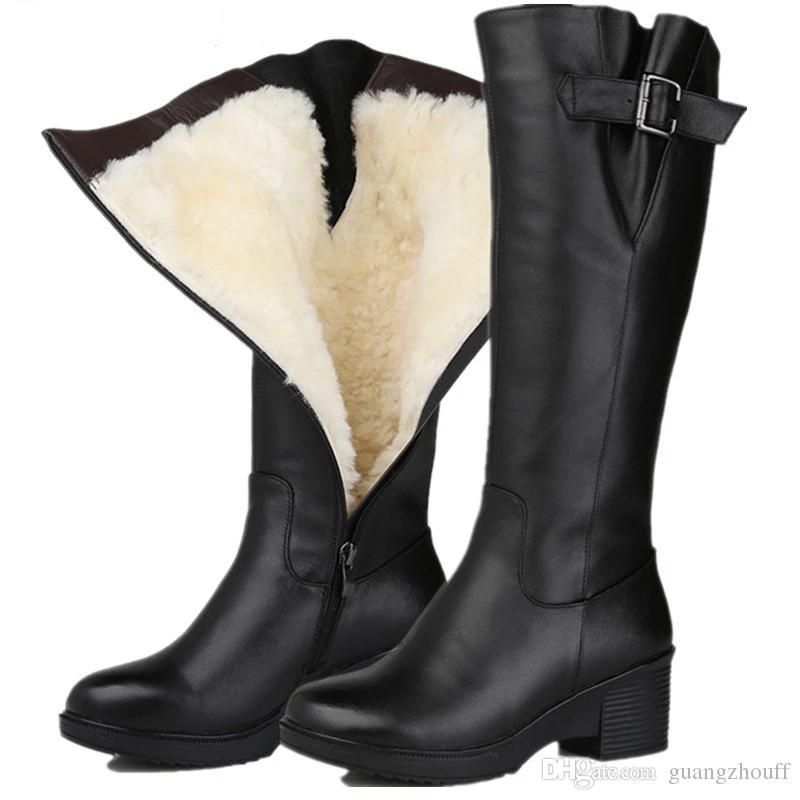 ayak fermuar orta buzağı botlar yün kış shearling kadınlar sıcak kar botları tutmak yuvarlak moda hakiki deri botlar