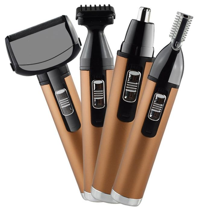 4 en 1 Nariz recargable de eliminación de recorte de pelo para los hombres de las mujeres de la ceja eléctrica cortadora de cabello maquinilla de afeitar la barba cara pelos cortados BB
