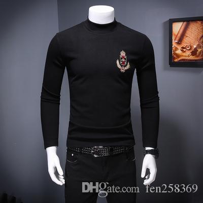 2019 новая осень и зима базы с высоким воротником с длинными рукавами футболка толщины футболки значка вышивка большого размером мужской футболкой