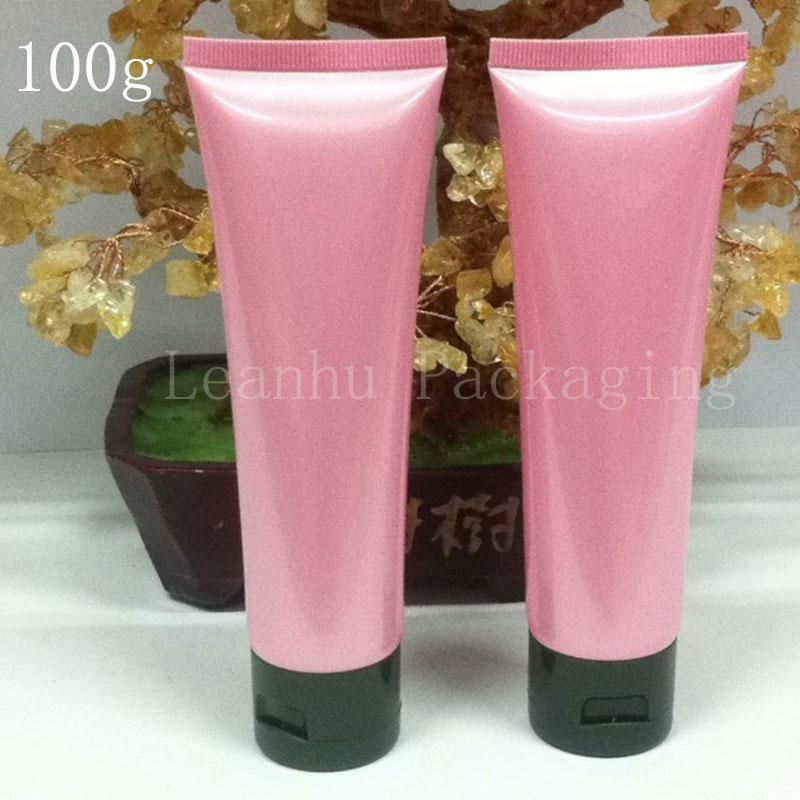 100G 50pcs cor rosa suave Tubo de cosméticos embalagens, garrafas 100ML Loção Creme de plástico, creme para as mãos Containers Tubo