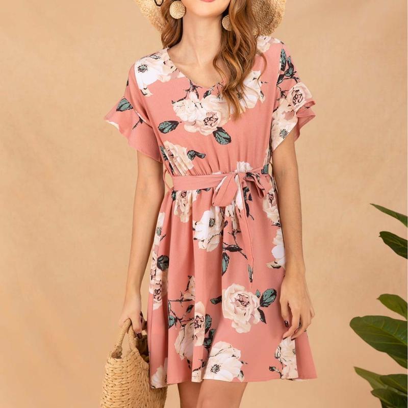 HomeNest Damenmode Printed V-Ausschnitt gekräuseltes kurzes Hülsen-Verband-Gurt-Minikleid beiläufigen Abend-Partei-Kleid-Sommer 2020