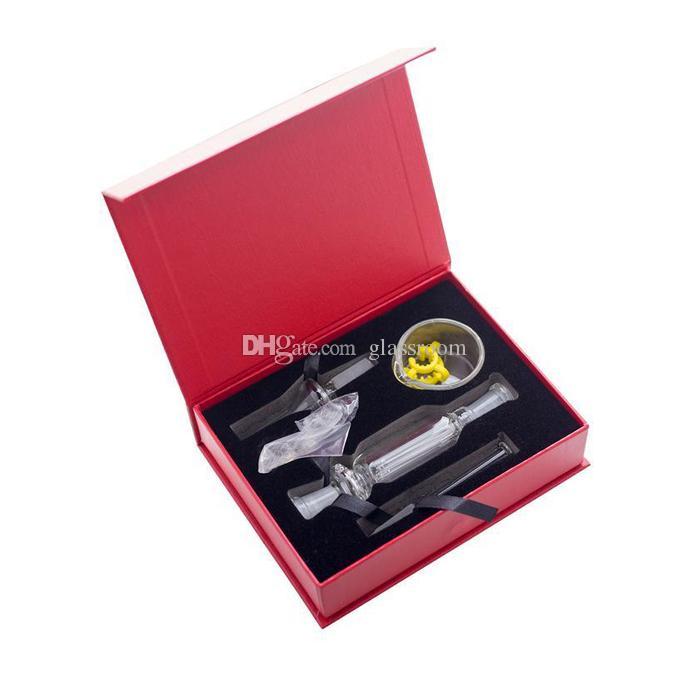 Micro NC 10 milímetros mini-bong Kit com GR2 Titanium gorjeta de copo tubulações de água prego bongs plataforma de petróleo dab Plataformas Gift Box vaporizador