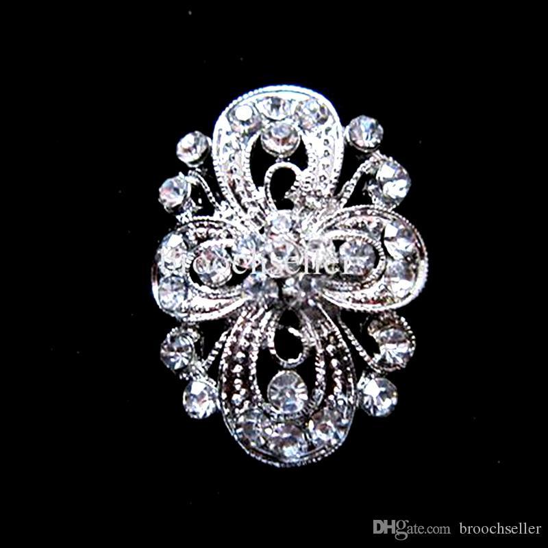 Banhado A Prata Limpar Rhinestone Cristal Flor Projeto Pequeno Pin Broche