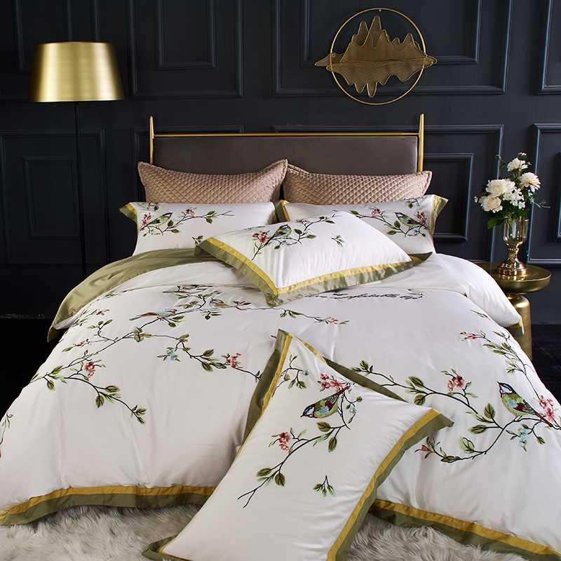 New Chinese Style Flower Bird Embroidery 100S Egyptian Cotton White Gray Duvet Cover Bed Sheet Bed Linen Pillowcases Bedding Set