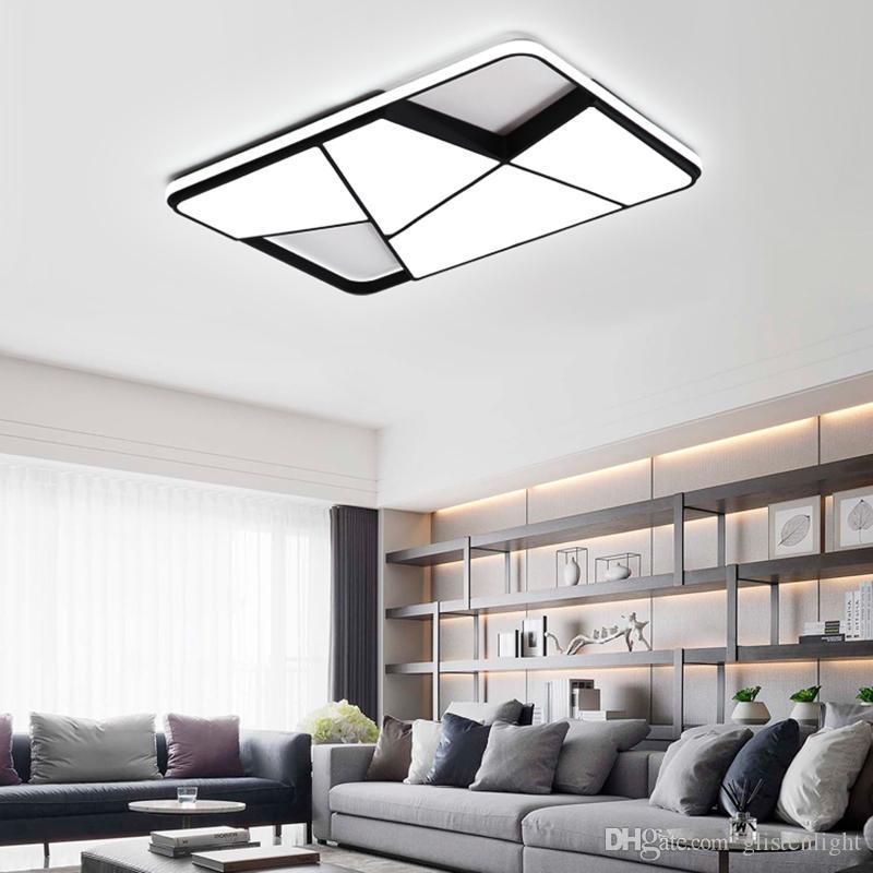 Rectángulo modernas lámparas de techo led para la sala de estar luces del dormitorio sala de estudio blanco / negro luz del dormitorio de la lámpara de techo 95-265V Atenuación cuadrada