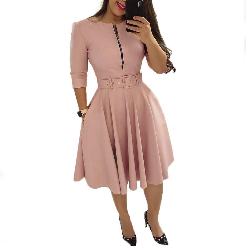 Women Fall Half Sleeve Elegant Tunic Party Dress Female O Neck Solid Zipper Belted Pleated Casual Office Dress Vestidos mujer Size S-XL