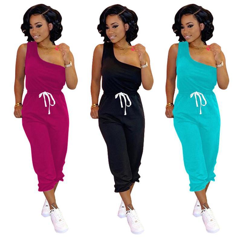 Plus Größe Frauen Sommer Zweiteiler Set Sleeveless T-Shirt + Hosen Sportanzug S-3XL Kleidung Outfits Solide Farbe Jogginganzug 2618