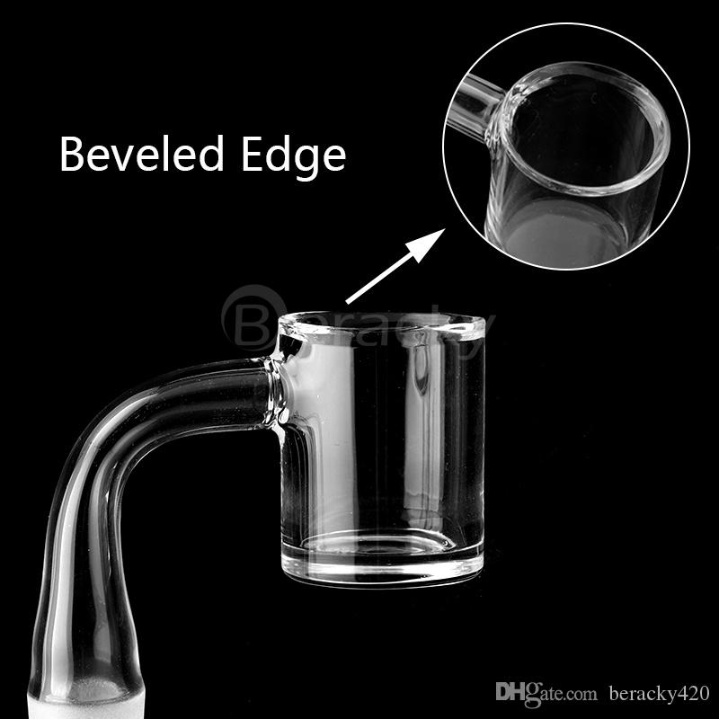 Beveled Edge Quartz Banger 4mm Clear Bottom 25mmOD 10mm 14mm 18mm 45&90 Male Female Quartz Banger Nails For Glass Bongs Water Pipes Rigs
