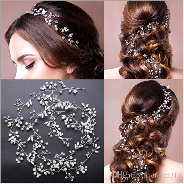 Nouvelle demoiselle d'honneur de mariée d'honneur d'honneur argenté strass perle bandeau de la bande de cheveux de peluche de poil de luxe accessoires de cheveux fascinateurs Tiara or