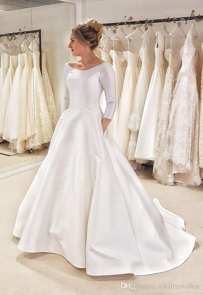 New A-line Simple Satin Modest Wedding Dresses 2020 With 3/4 Sleeves Country Western Women Elegant Vintage Modest Bridal Gowns With Pockets