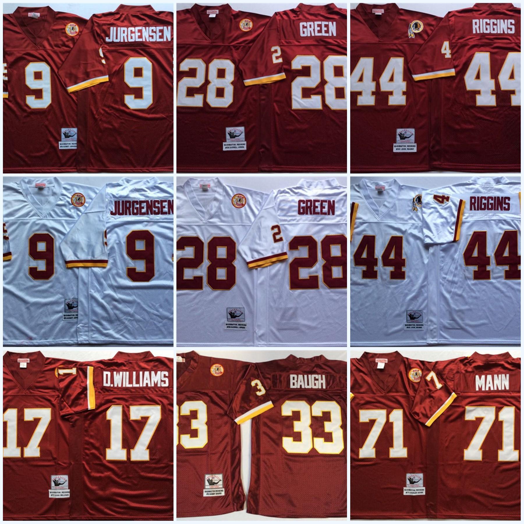 Mens # 33 Sammy Baugh Vintage Football Jersey # 28 Darrell Green 9 Sonny Jurgensen 44 John Riggins 17 Doug Williams 71 Charles Mann Jersey