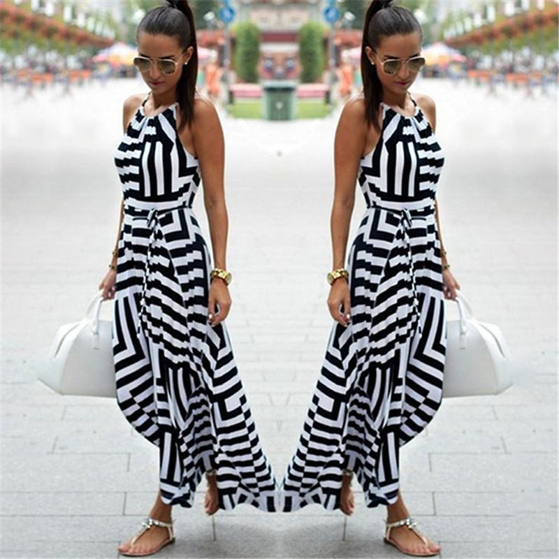 Kadın İçin Bigsweety Yeni Moda Kadınlar Seksi Boho Çizgili Elbise Yaz Maxi Uzun Elbise Kolsuz Plaj Kayış Sundress vestidos