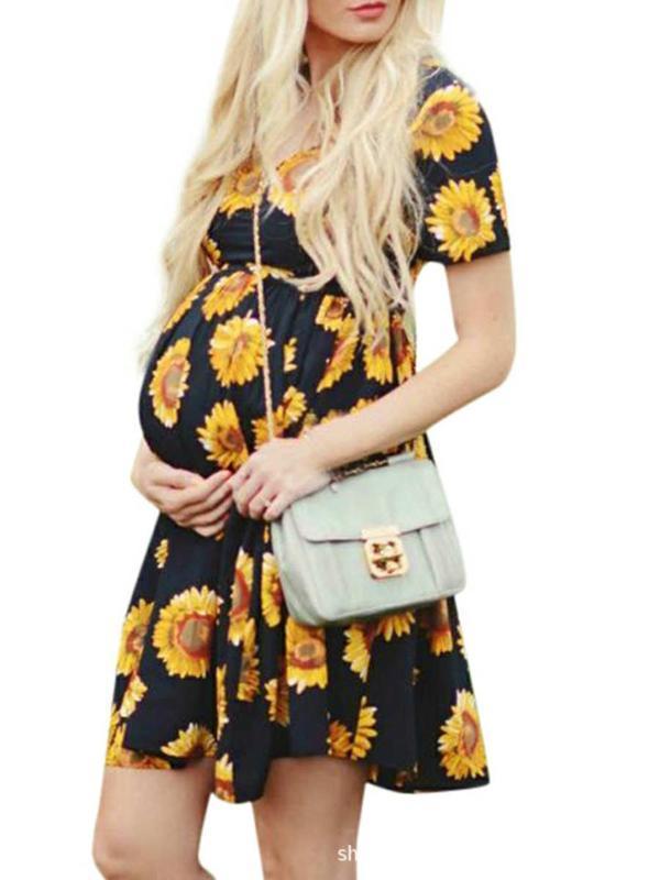 Мода для беременных Юбка Квадратный воротник Подсолнечное A-Line юбка моды напечатанных Женская Материнство платье платья