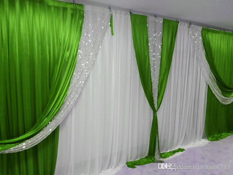 3m high*6m wide(10ft*20ft) wedding backdrop with sequins swags backcloth Party Curtain Celebration Stage curtain Background customized