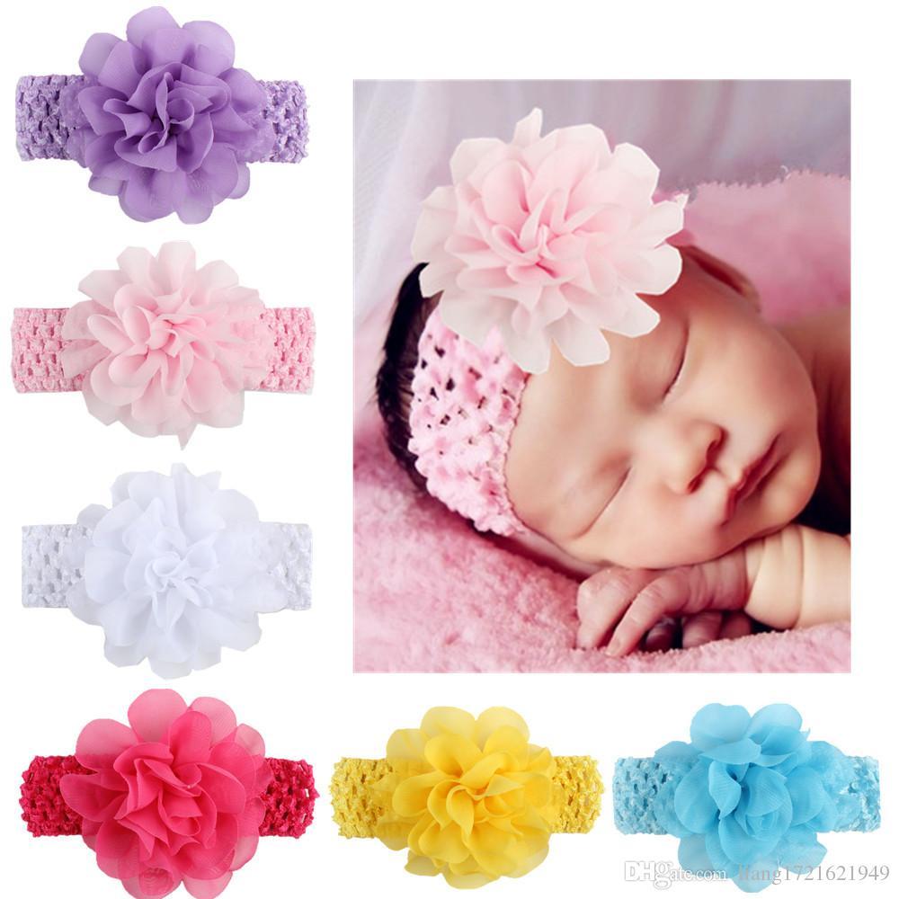 Blumenhaarband der neuen europäischen und amerikanischen Kinder Chiffon- Hauptblumenhaarband Baby gestricktes Stirnband Babyhaarzusätze
