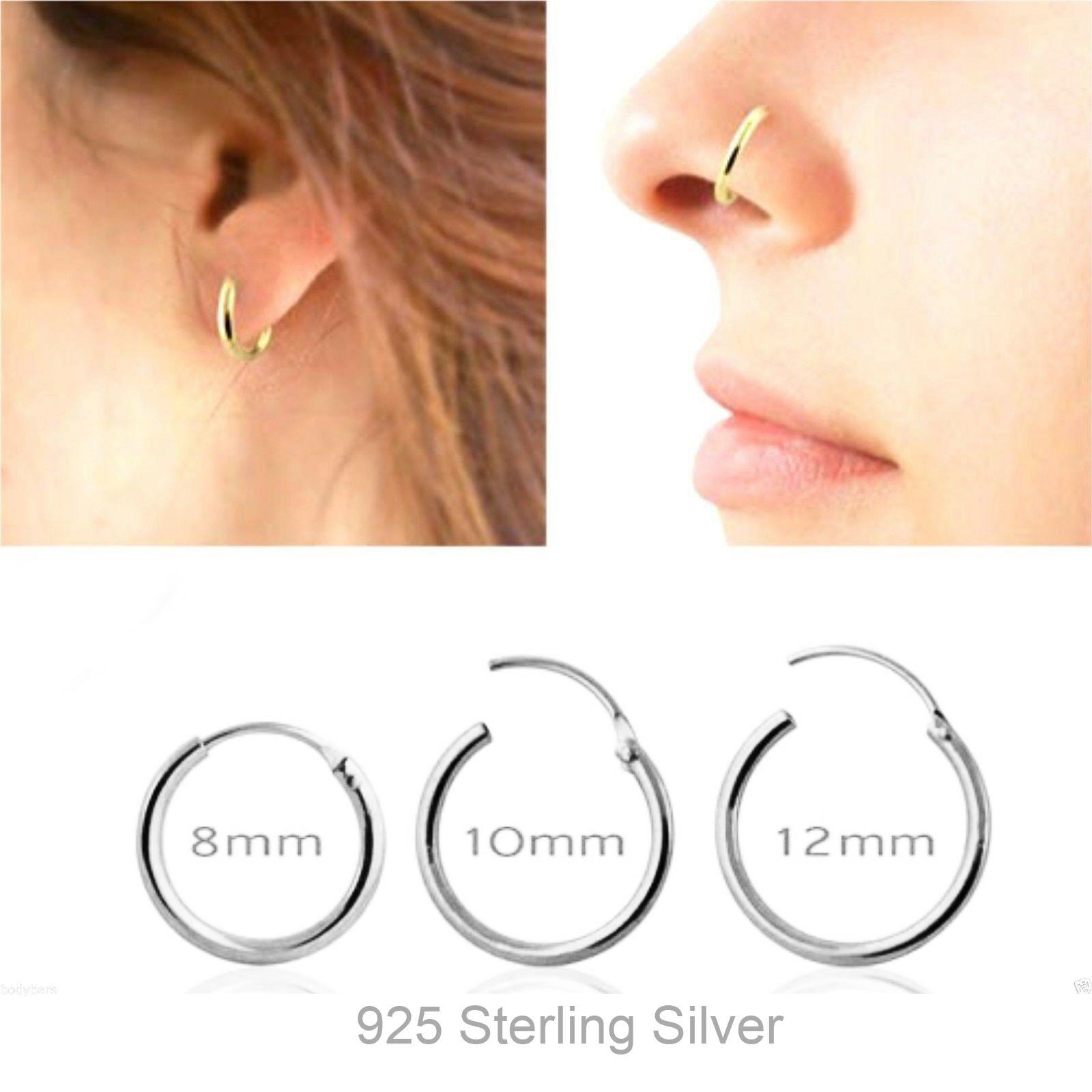 2020 925 Sterling Silver Segment Hoop Nose Ring Septum Clicker