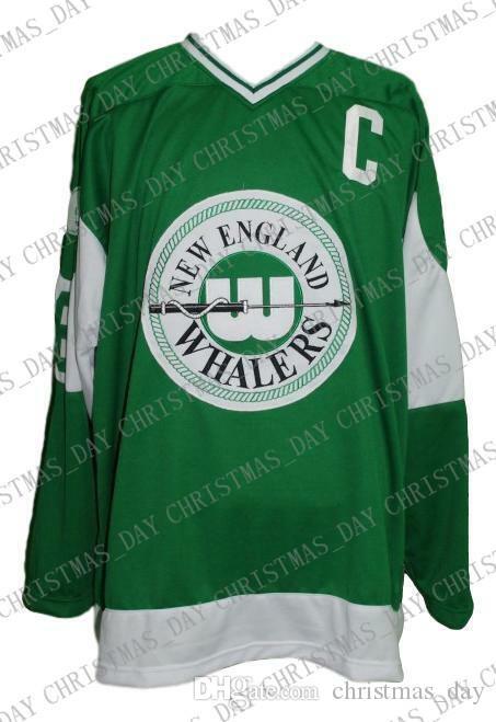 Individuelle New England Whalers Retro Hockey Jersey New Green Personalisierte Stich einer beliebigen Anzahl beliebigen Namen der Männer Hockey Jersey XS-5XL
