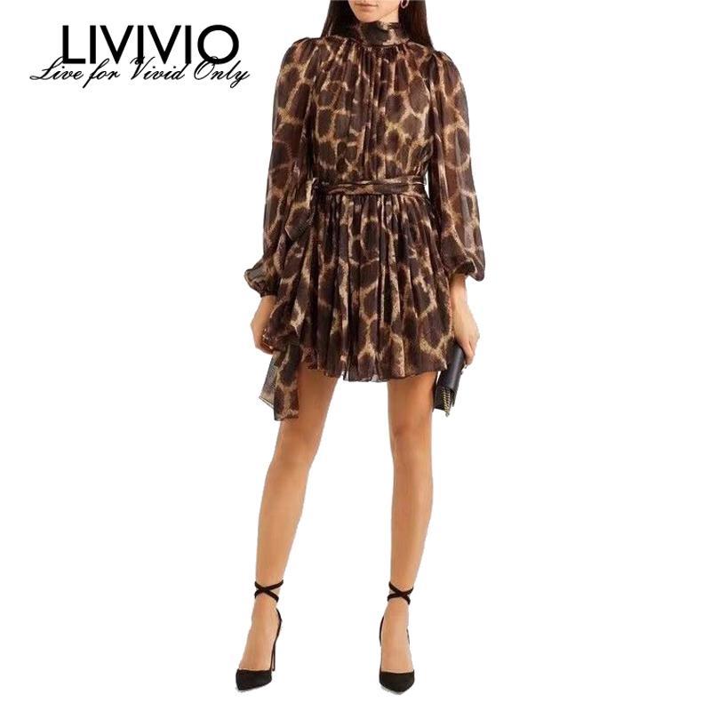 [LIVIVIO] Sheer leopardo dell'annata Lanterna manica maglia del mini vestito dalla fasciatura delle donne di estate 2019 Abbigliamento elegante coreano Moda Y200101