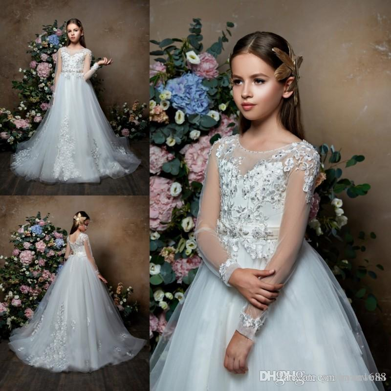 Pentelei 2020 Long Sleeves Flower Girl Dresses For Weddings Lace Appliqued Beads Little Kids Baby Gowns Cheap Princess Communion Dress
