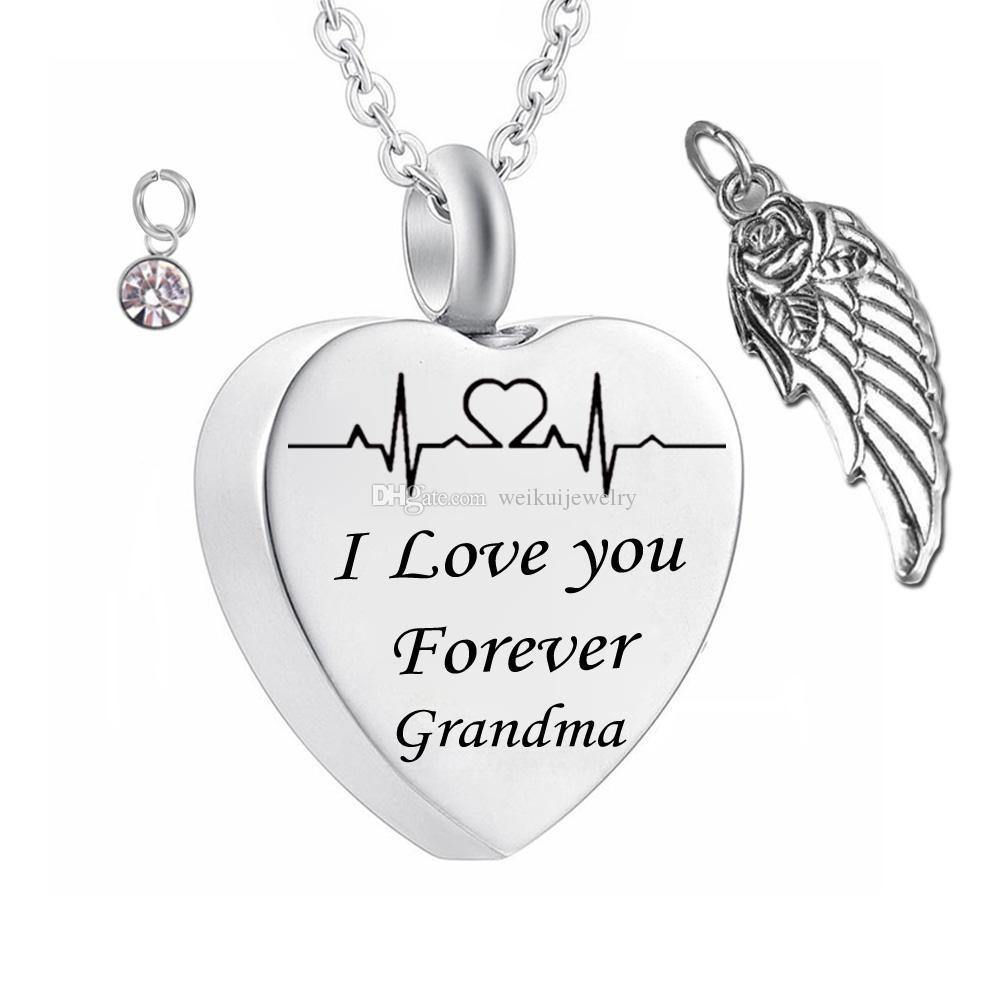 Eu te amo para sempre avó Birthstone Cinzas coração Pingente Memorial Urn Colar de Aço Inoxidável Asa de Anjo À Prova D 'Água Jóias de Cremação
