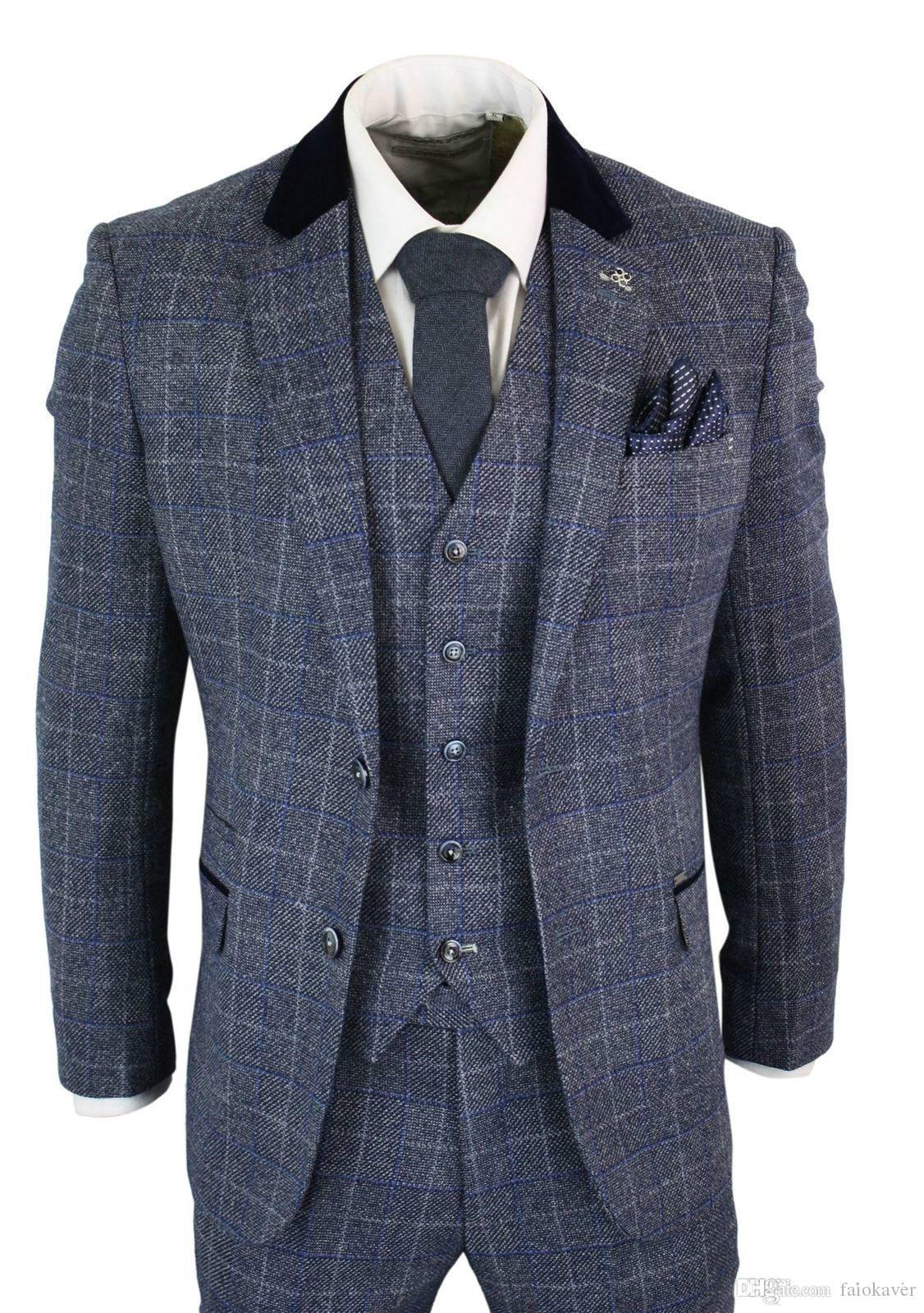 Herren Anzüge Blau Navy 3 Stück Tweed-Anzug mit Fischgrätmuster Weinlese Peaky Blinders nach Maß Bräutigam Hochzeit Smoking trägt