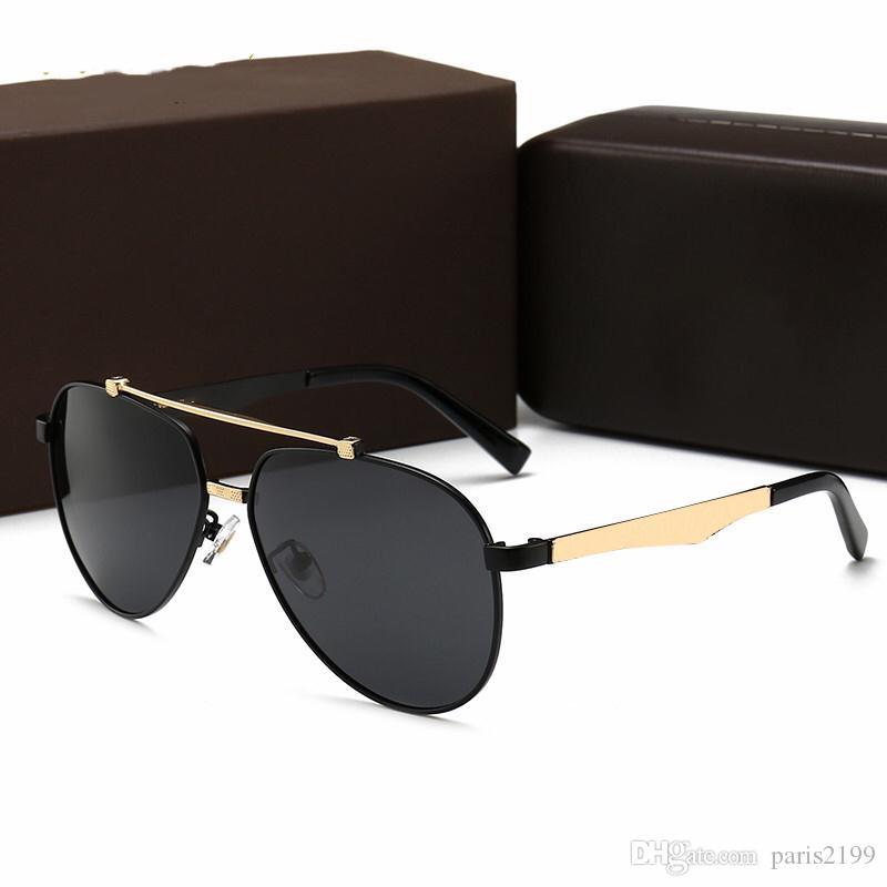 Nuevas gafas de sol de lujo para hombres / mujeres Gafas de sol con letrero de metal Gafas extragrandes Gafas de sol