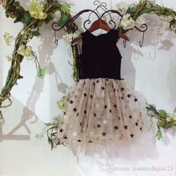 Yaz 2019 Yeni Amerikan Küçük Tuu Yıldız Payetli Ponpon Elbise GirlPrincess Etek