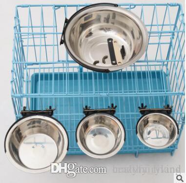 Çanak Üç Boyut Sabit Evcil Çanaklar Asma Sabit Köpek Kafesi Bowl Paslanmaz Çelik Asma Pet Köpek Kedi Bowl
