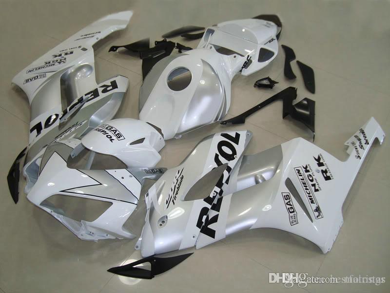 OEM качество Обтекатели для Honda CBR1000RR 2004 2005 серебристо-белый комплект обтекателя для литья под давлением CBR 1000 RR 04 05 QT45